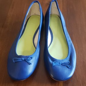 Blue Leather Ballet Flats
